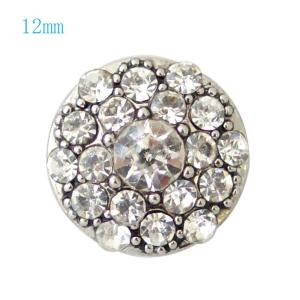 12MM Round snap Silver Plated with white rhinestones KB7225-S snaps jewelry