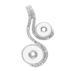 sliver Pendant with rhinestone fit 20MM&12MM snaps style jewelry KC0419