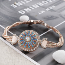 20MM round Rose-Gold Plated with blue rhinestone KC7569 snaps jewelry