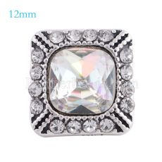 12MM Square snap Antique sliver Plated with colorful rhinestone KS6154-S snaps jewelry