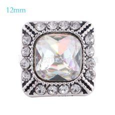 12MM Astilla cuadrada Astilla antigua chapada con diamantes de imitación de colores KS6154-S broches de joyería