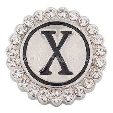 20MM English alphabet-X snap Antique silver  plated with Rhinestones KC8553 snaps jewelry