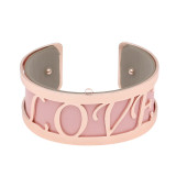Copper Bangle with real leather Pink/gray double side TA7031