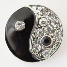 20MM Tai Chi snap Silver Plated with rhinestone and black Enamel KB6184 snaps jewelry