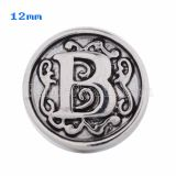 12mm B Antique snaps Silver Plated KS5004-S snap jewelry