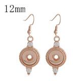 Pendiente de oro rosa a presión con diamantes de imitación en forma 12MM broches de joyería de estilo KS1152-S