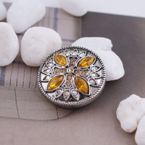20MM design snap silver Antique plated with yellow rhinestone KC5355 snaps jewelry