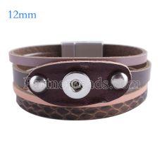 Partnerbeads 7.6 дюймовые кожаные браслеты на кнопках 1 с защелками 12mm KS0641-S
