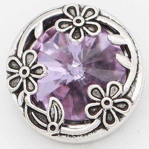 Diseño 20MM chapado en plata con diamantes de imitación púrpura KC6732 broches de joyería