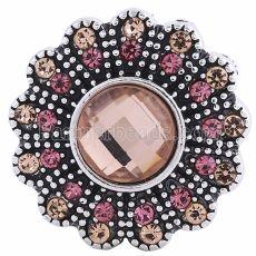 20MM Цветочная оснастка Античное серебро с покрытием из оранжевого порошка со стразами KC6045 защелкивается ювелирные изделия