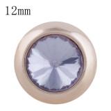 12MM bouton pression rond en or rose avec strass violet clair KS9682-S s'enclenche les bijoux