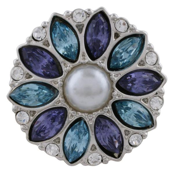 Astilla de diseño 20MM plateada con diamantes de imitación azules y perlas KC5701 broches de joyería
