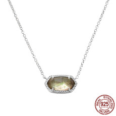 S925 Sterling Silver Kendra Scott style Elisa pendant necklace with Champagne shells GM5004 0.8*1.5cm pendant size