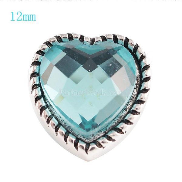 12MM Loveheart Snap Antik Silber Überzogen mit hellblauem Strass KS6059-S Snaps Schmuck