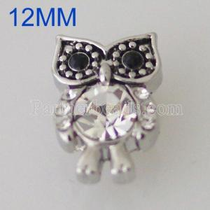 12MM Owl snap Silver Plated with rhinestone KB5517-S snaps jewelry