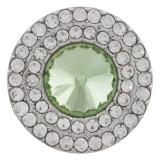 20MM Broche redondo plateado con diamantes de imitación verdes KC9883 broches de joyería
