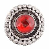 18MM Round snap Silver Plated with red and clear  Rhinestone KC9639 snaps jewelry