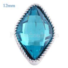 12MM snap Plateado plata antigua con diamantes de imitación azules KS6089-S broches de joyería