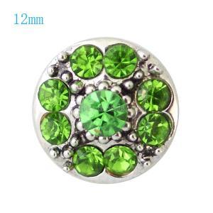 12MM Цветочная оснастка посеребренная с зелеными стразами KB7258-S оснастки ювелирные изделия