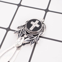 20MM Cross snap Silver Plated with rhinestones and black Enamel KB7758 black