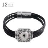 20CM 1 snap button black leather bracelets  fit 12mm snaps KS1138-S