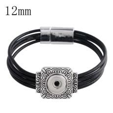 20CM 1 bouton pression bracelets en cuir noir pour 12mm snaps KS1138-S