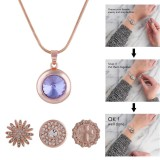 snap Rose Gold Pendant fit 20MM snaps style jewelry KC0386
