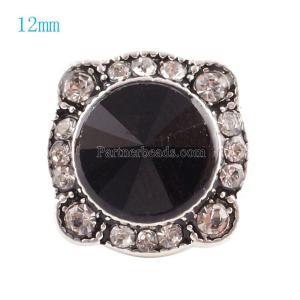 12MM Нерегулярные защелки Серебро, покрытые черным и прозрачным стразами KS6055-S защелкиваются ювелирные изделия