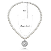 sliver necklace with 45CM chain with pearl KC1057 fit 18mm chunks snaps jewelry