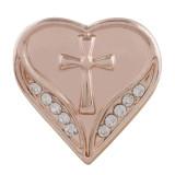 20MM corazón chapado en oro rosa con diamantes de imitación blancos KC7554 broches de joyería