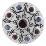 20MM bouton pression en argent plaqué avec strass violet foncé KC5553 s'encliquette bijoux
