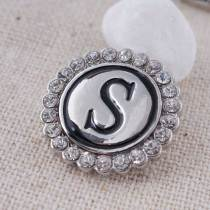 20MM English alphabet-S snap Antique silver  plated with Rhinestones KC8548 snaps jewelry