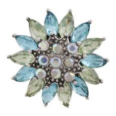 20MM design mousqueton ruban plaqué avec strass bleu KC7574 s'enclenche bijoux