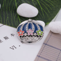20MM crown snap silver Antique plated with colorful  Enamel and rhinestone KC5369 Multicolor
