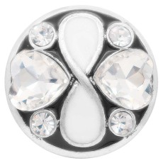 20MM loveheart snap Argenté avec strass blanc KC7914 s'encliquette bijoux