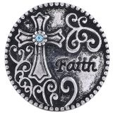 20MM Cross round snap Antique Silver Plated with light blue rhinestone KC6079 snaps jewelry