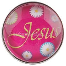 20MM s'enclenche en verre rose de Jesus love me C0556 rose-rouge