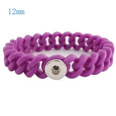 1 snap button bracelet with 12mm width silicone stretch fit 12mm snaps