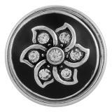 boutons pression en métal avec strass noir