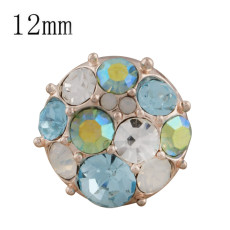 12MM round Rose Gold Plated KS5237-S blue snaps jewelry