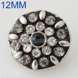 12MM Broche redondo plateado antiguo plateado con diamantes de imitación KB8533-S broches de joyería