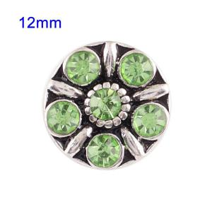 12mm Small size snaps with green Rhinestone for chunks jewelry