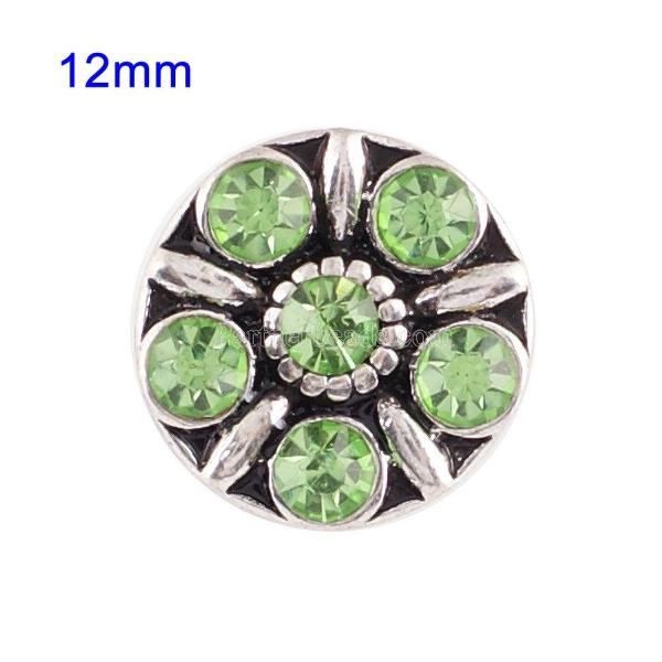 Broches 12mm de tamaño pequeño con diamantes de imitación verdes para joyas en trozos