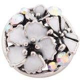 Broche de flores 20MM plateado con esmalte blanco y diamantes de imitación KC8804 broches de joyería