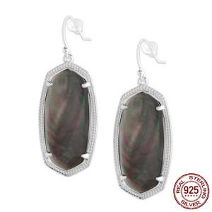 S925 Aretes colgantes de plata de ley de estilo Kendra Scott con concha negra GM6002