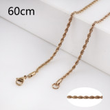 60CM rose gold Stainless steel fashion rope chain fit all jewelry