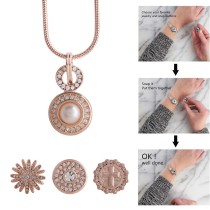 Collier en or rose de haute qualité avec chaîne 45CM et strass blanc KC1032 fit 18 * 20mm chunks snaps jewelry