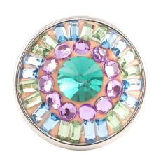 snaps button with cyan rhinestone and resinestone KC2788 snaps jewelry