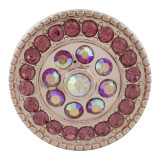 20MM redondo chapado en oro rosa con diamantes de imitación de oro rosa KC9833 broches de joyería
