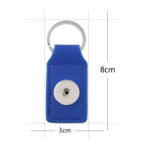 Blue pu leater fashion Keychain  buttons fit snaps chunks KC1185 Snaps Jewelry
